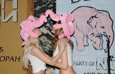 Розовые слонихи