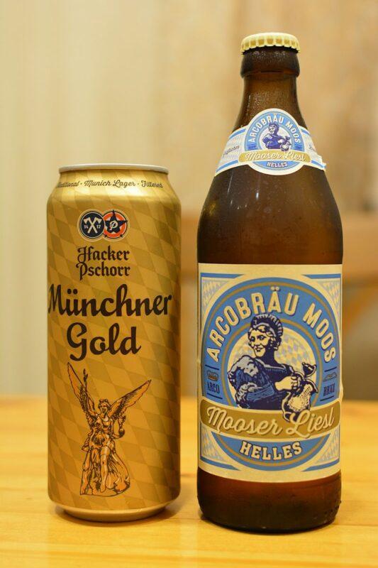 Пиво Mooser Liesl Helles и Hacker-Pschorr Münchener