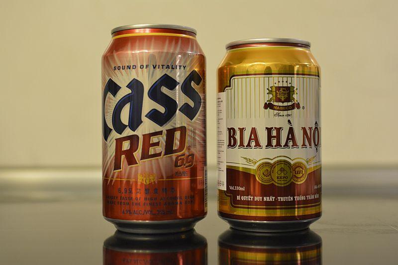 Пиво Hanoi и Cass Red