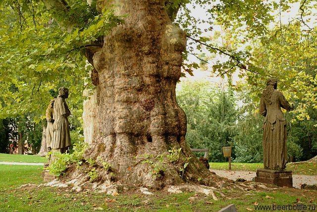 Старинный парк у замка Мокрице