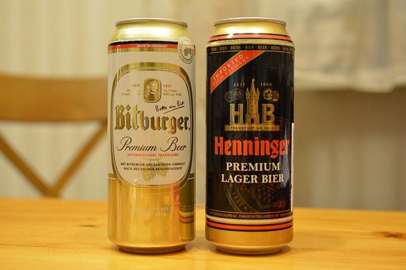 Пиво Bitburger и Henninger Premium Lager