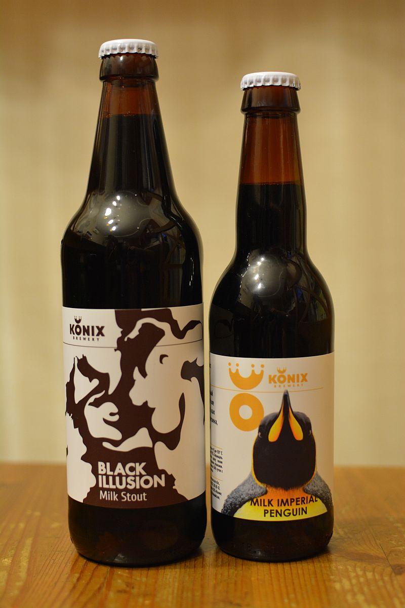 Пиво Konix Black Illusion и Milk Imperial Penguin
